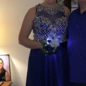 Royal Blue Prom Dress-Silver Earrings